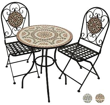 Woodside - Set table de jardin et chaises pliantes - motif mosaïque ...