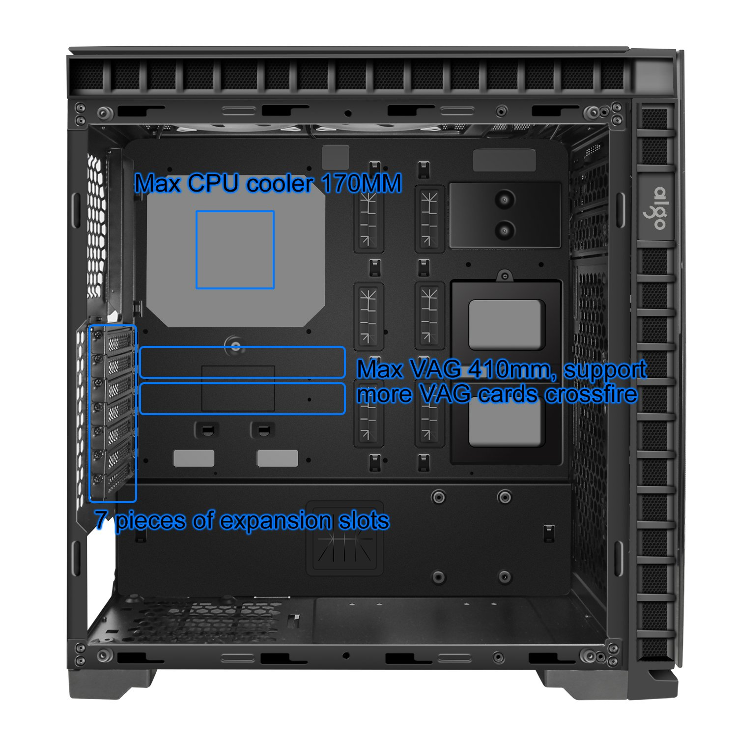 Aigo CRYSTAL ATX Mid Tower Dual Tempered Glass Panels Gaming Computer PC Case USB 3.0 Ports w/ 5 RGB Color Changing LED Ring Lights Fans and Controller Pre-Installed by Aigo (Image #4)