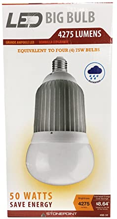 StonePoint LED Lighting Shatter Resistant Big Bulb BB-50 Bright Daylight Bulb Fits Standard Light Socket 4000K and 4275 Lumens - For Shop Light, ...