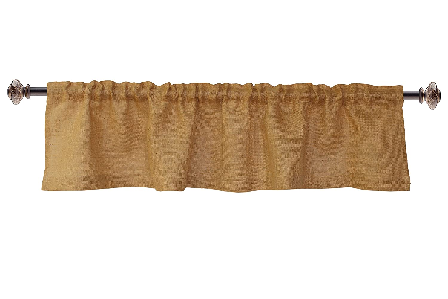 Cotton Craft - 100% Jute Burlap Natural Window Valance - Set of 2 - Size - 16-Inch-by-72-Inch - Made from Eco-Friendly 100% Natural Jute Orient Originals Inc. 81276