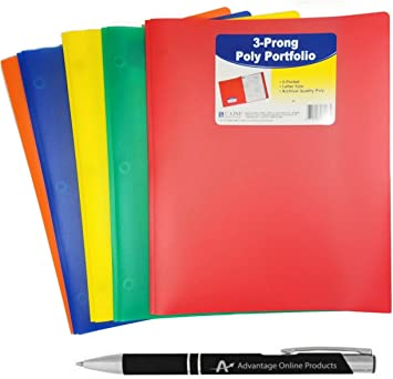 25//PK New C-Line Two-Pocket Heavyweight Poly Yellow Folder with Prongs