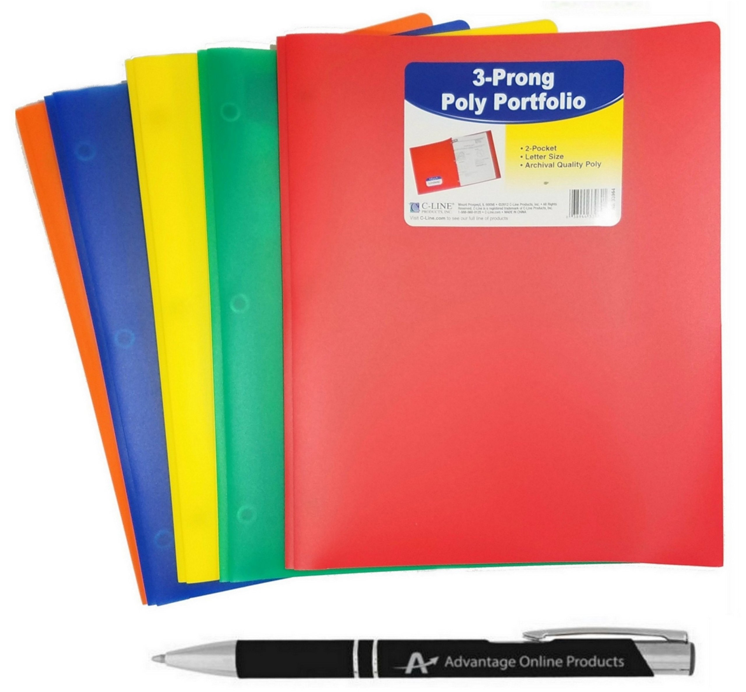5-Pack C-Line Two-Pocket Heavyweight Poly Portfolio with Prongs, For Letter Size Papers, Includes Business Card Slot, 5-pack With One of Each Blue, Green, Orange, Red and Yellow