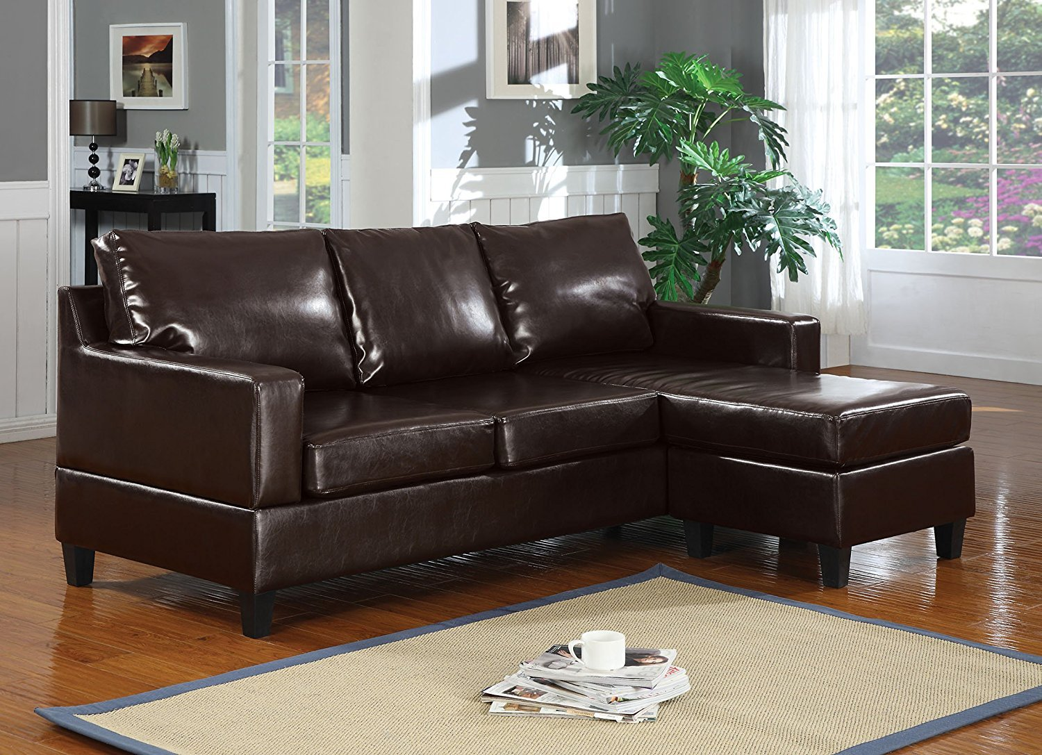 Amazon Com Major Q Bonded Leather Sectional Chaise Reversible Sofa