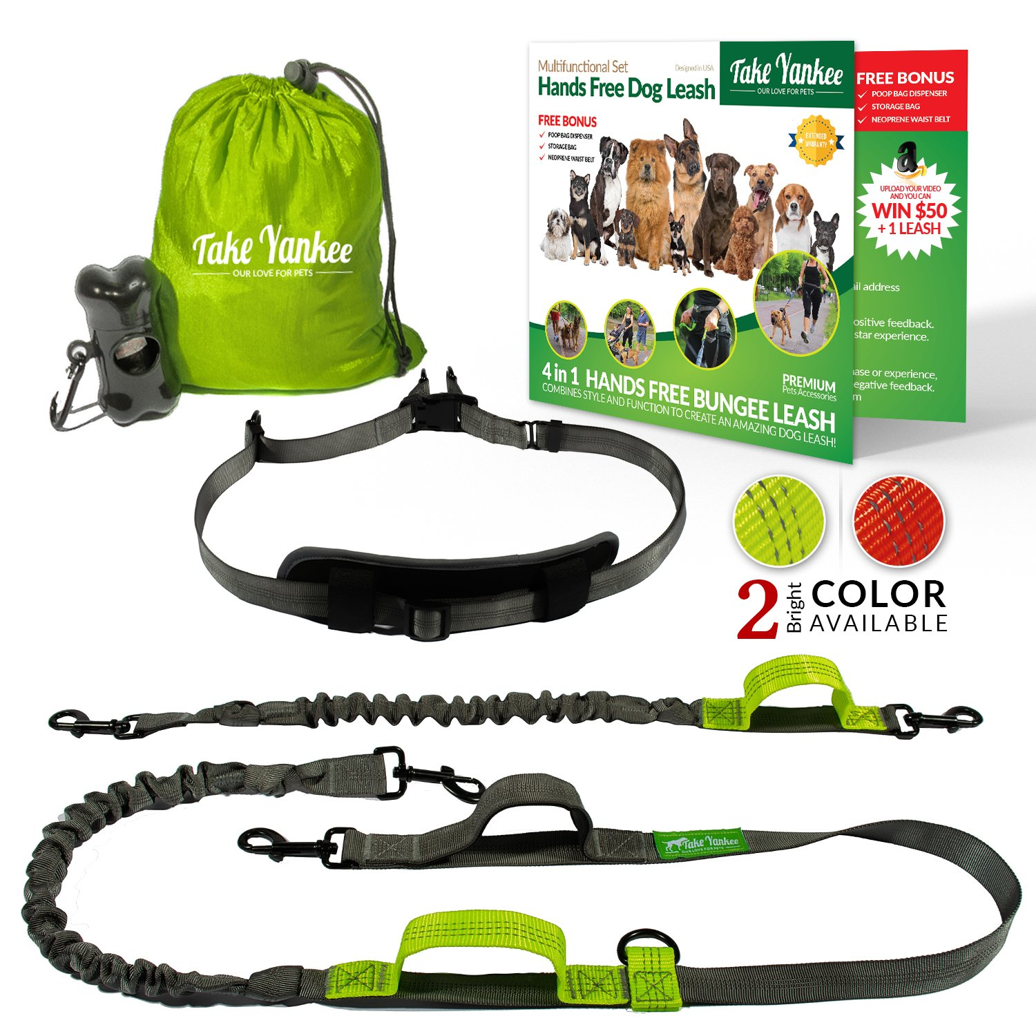 Hands Free Dog Leash for Running Training Walking & Double Dog Leash Coupler Set Fits 2 Dogs Bungee Leash & Reflective Leash Adjustable Waist Belt & Retractable Leashes by Take Yankee