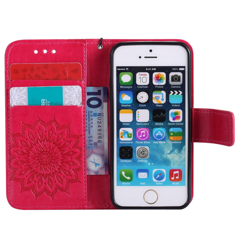 für Iphone 5 5S 5G PU Geprägte Muster Handy Leder Silikon Schutzhülle Handy case Book Style Portemonnaie Design für Apple Iphone 5 5S 5G