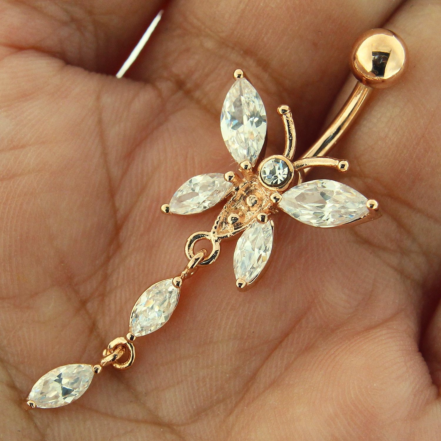 3 Micron 18K Rose Gold Plated Clear CZ Stone Butterfly Design Dangling 925 Sterling Silver Belly Button Ring