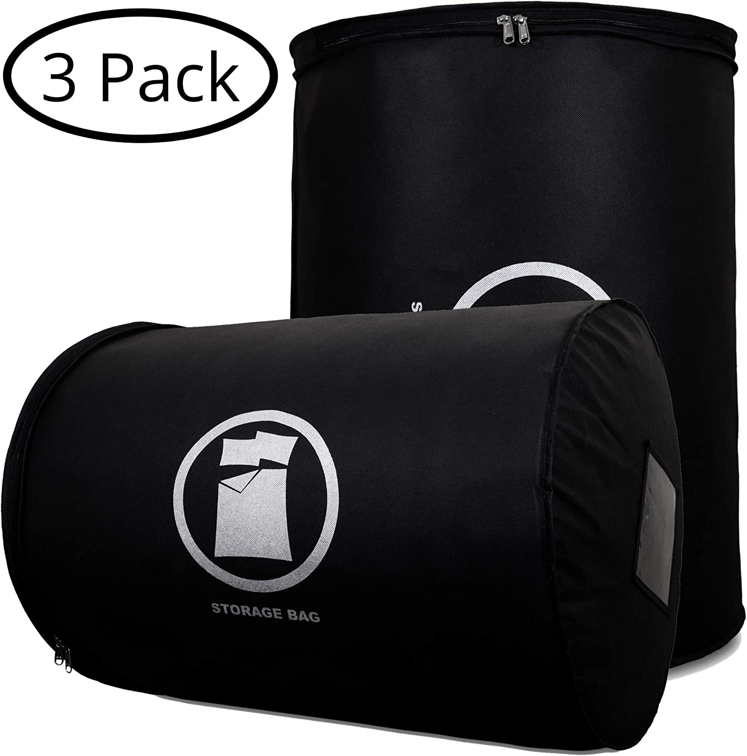 Goal Winners Breathable Duvet Bedding Storage Bag Bedding, Quilt & Clothing Storage Bags Fits Single, Double, Queen, King & Super King Size Duvet Storage Bags - 3 Pack (Black, King/Super King)