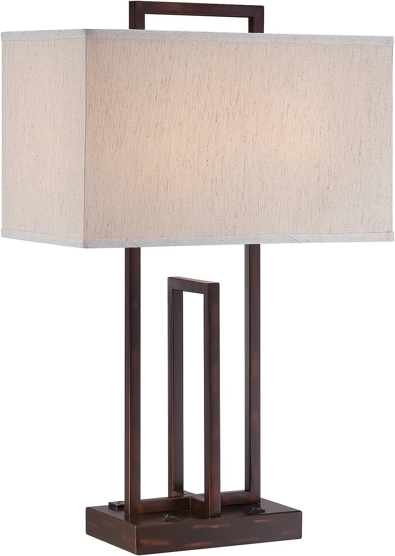 "Lite Source LS-22542 Farren Table Lamp, 10"" L x 17"" W x 26.5"" H, Dark Bronze/Off-White"