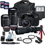 Canon EOS 80D DSLR Camera Bundle with Canon EF-S 18-55mm f/3.5-5.6 IS STM Lens + Canon EF-S 55-250mm f/4-5.6 IS STM Lens + 500mm f/8 Preset Lens + 2 PC 32 GB Memory Card + Camera Case