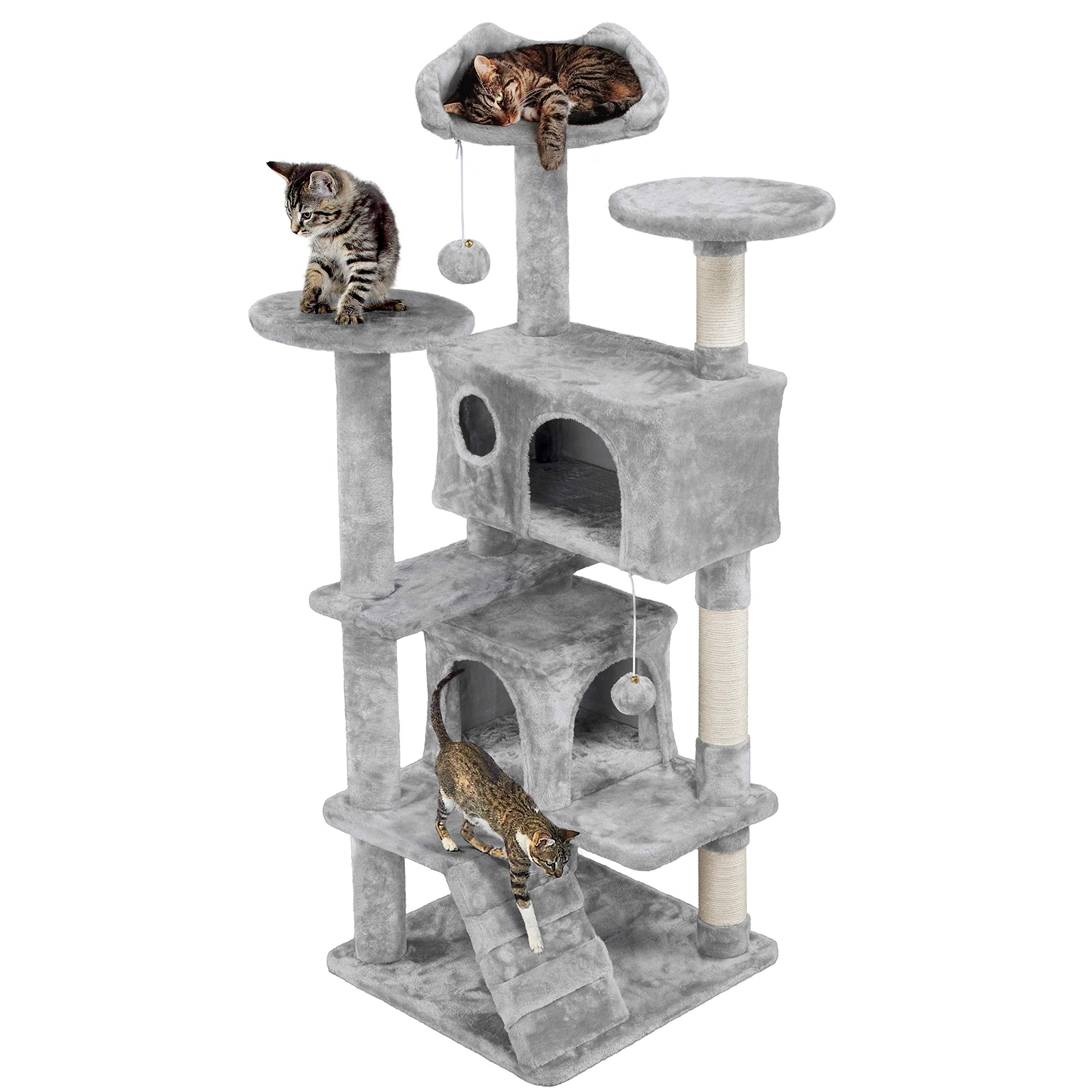 Activity Centre Multi-Level Kitten House with Condo Tall Cat Furniture Climbing Tower for Indoor Cats Large Grey 155CM rabbitgoo Cat Tree and Tower Scratching Post