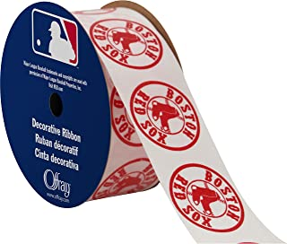 "product image for Offray MLB Boston Red Sox Fabric, 1-5/16"" X 9FT Ribbon"