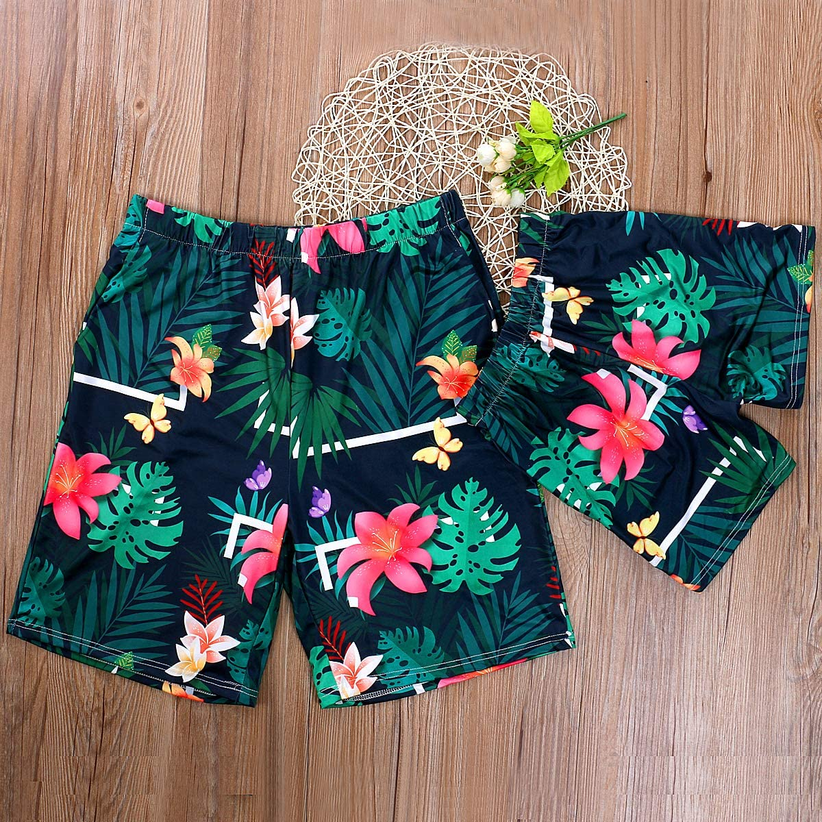 Mommy and Me Family Matching Swimsuit,Floral Print One Piece Swimwear Father and Son Swim Trunks Bathing Suits