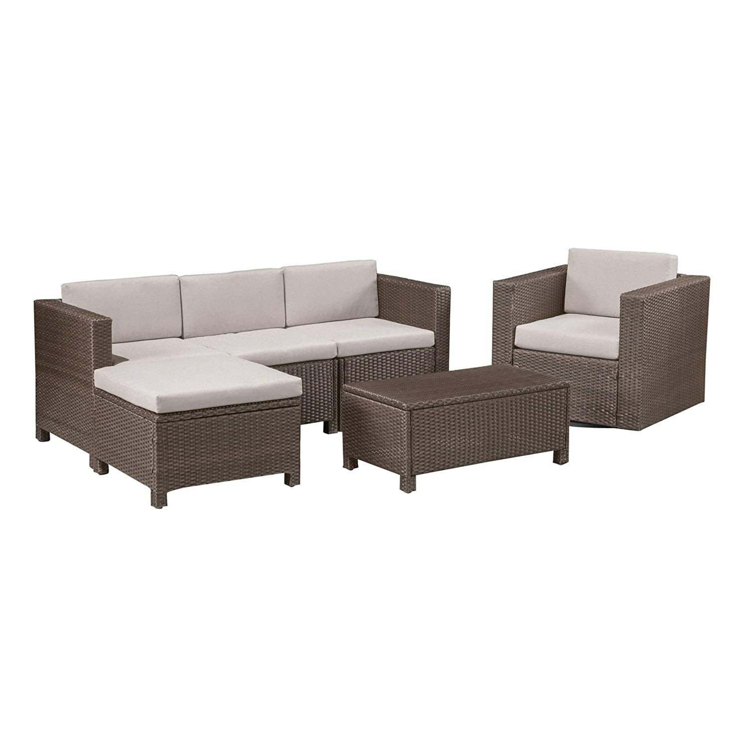 Amazon.com : Buzz Outdoor 4 Seater Wicker L-Shaped Sectional Sofa ...