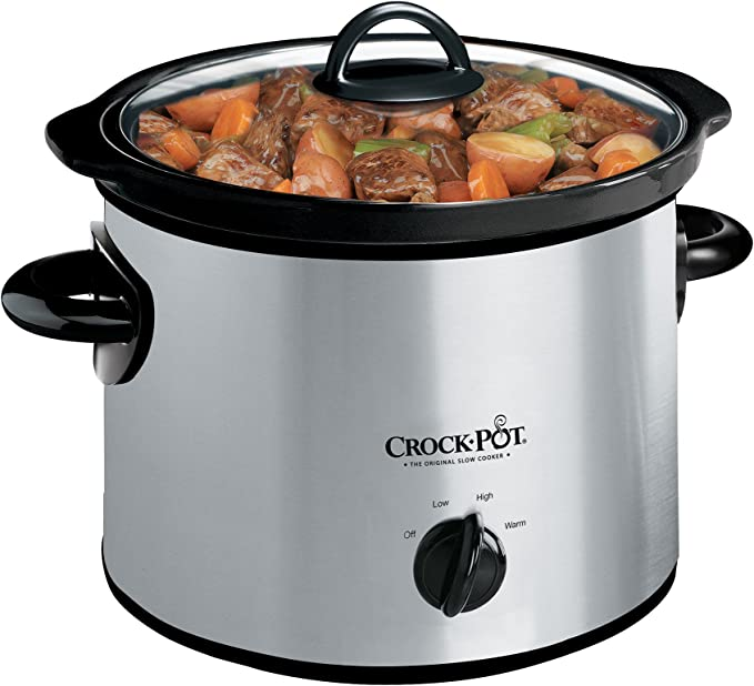 Crock-Pot 3-Quart Round Manual Slow Cooker, Stainless Steel and Black - SCR300-SS   Amazon
