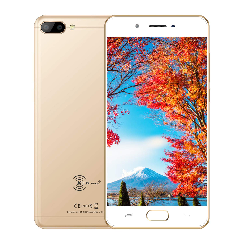 KENXINDA X6 Teléfono Móvil, Android 7.0 Móviles y Smartphones Libres (5.0 Pulgadas HD, MTK6737 Quad-Core 1.3GHz, 8+5+5MP Cámara, 3GB RAM + 32GB ROM, Batería con 3500mAh Smartphone) Oro
