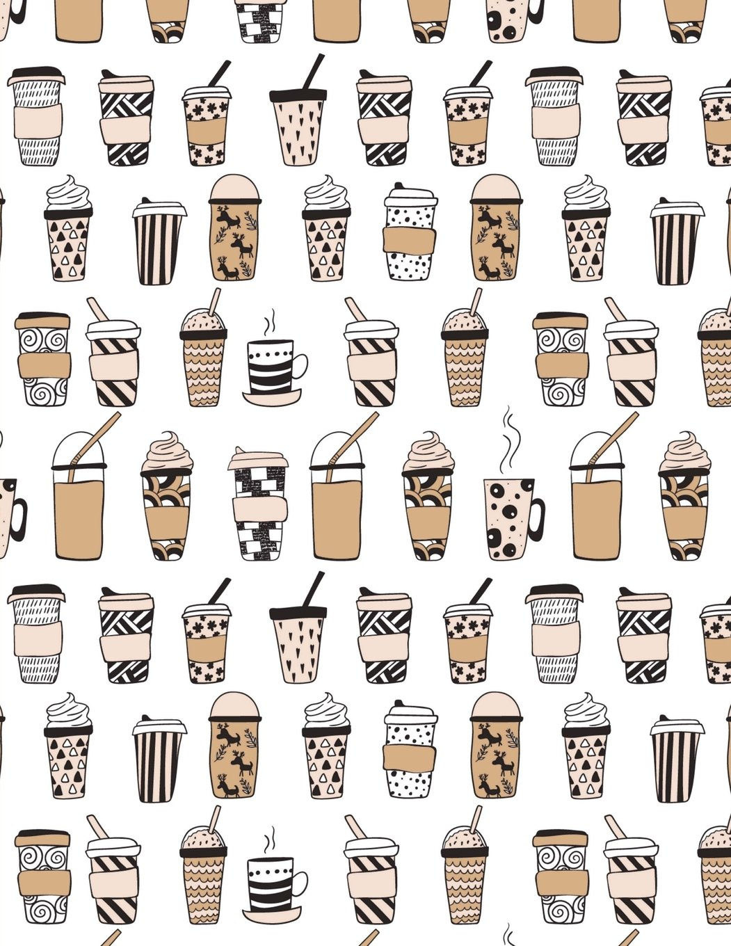 Download Coffee Notebook - 4x4 Graph Paper: 200 Pages 8.5 x 11 Allover Coffee Latte Pattern School Student Teacher College Math PDF ePub fb2 ebook