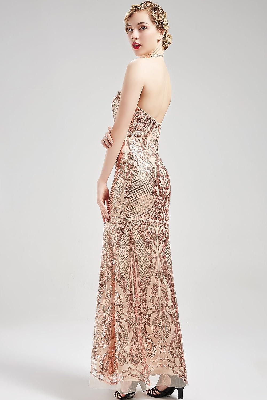 Long Beaded Sequin Strapless Dress