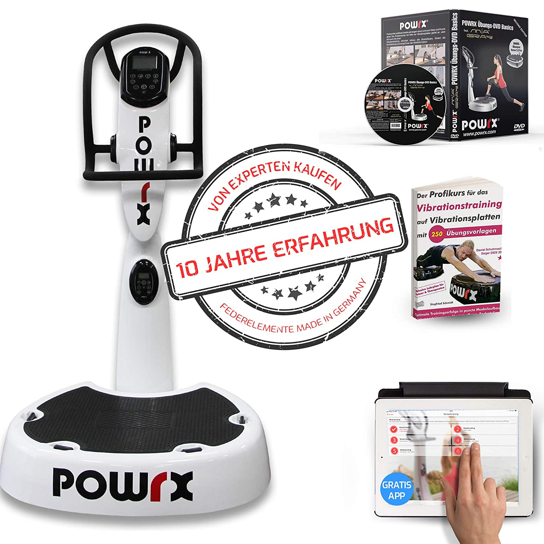 POWRX Vibrationsplatte mit Säule Pro Evolution 4.0 inkl. Zubehörpaket + Federelemente Made in Germany I Effektives Vibrationstraining I 3D Vibration Wie im Studio I 4 Farben I Jetzt mit App