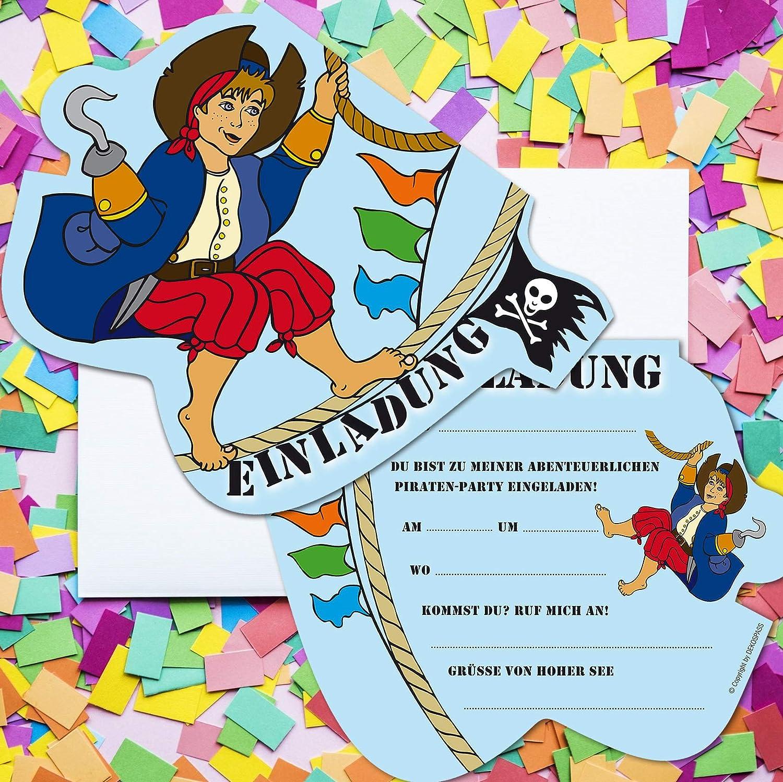 6 tarjetas de invitación * Piratas Niño * DE FIESTA de ...