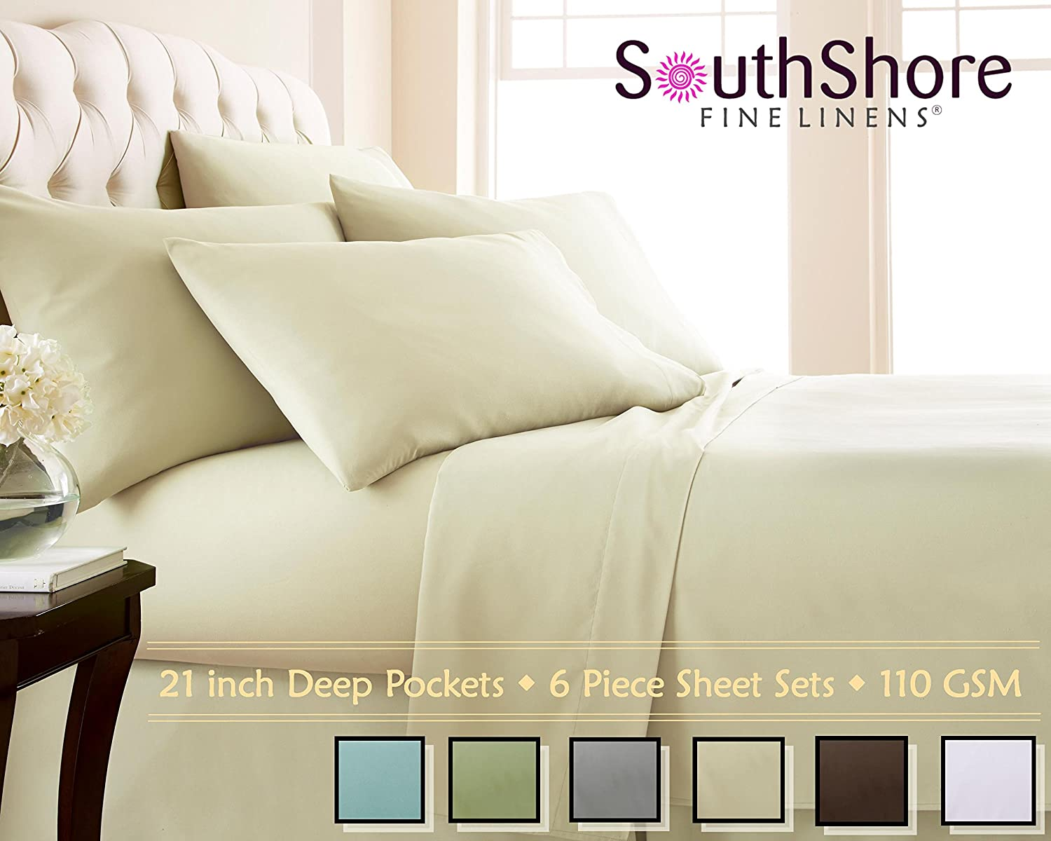 Southshore Fine Linens 6 Piece - Extra Deep Pocket Sheet Set - OFF WHITE - King