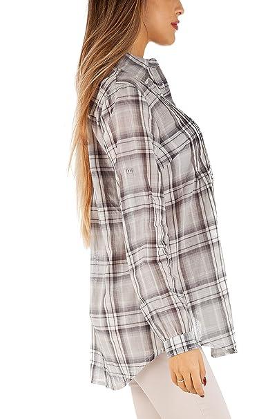 a0a9ee5e9ac3 Bestyledberlin - Camicia - Stile Impero - Basic - Classico - Maniche Lunghe  - Donna Nero XL 48  Amazon.it  Abbigliamento