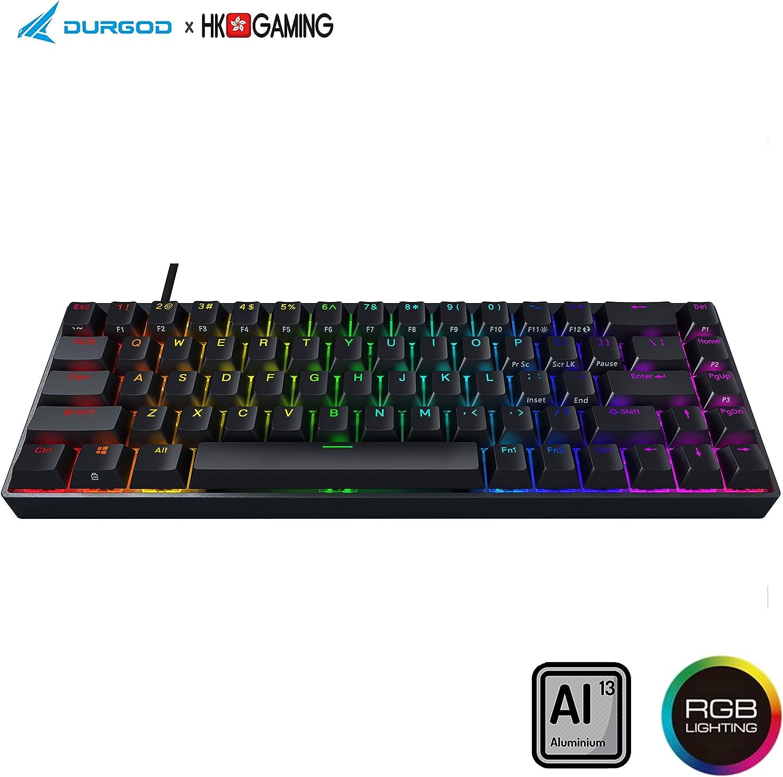 Durgod Hades 68 RGB Mechanical Gaming Keyboard - 65% Layout - Cherry Profile - NKRO - USB Type C - Aluminium Chassis (Cherry Black, Black PBT)