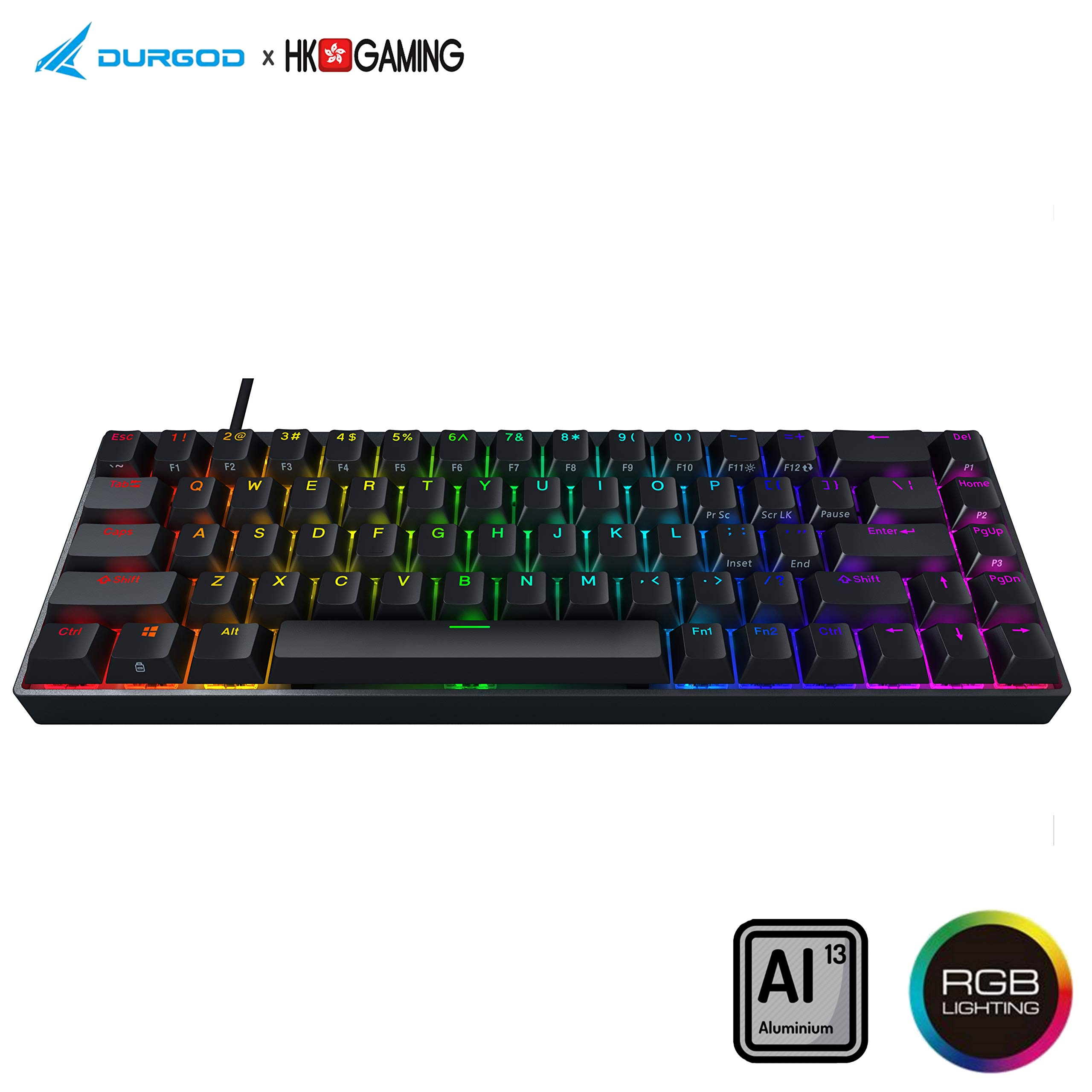 Teclado Mecanico 65% Cherry Red Durgod Hades 68 Layout  -2X9