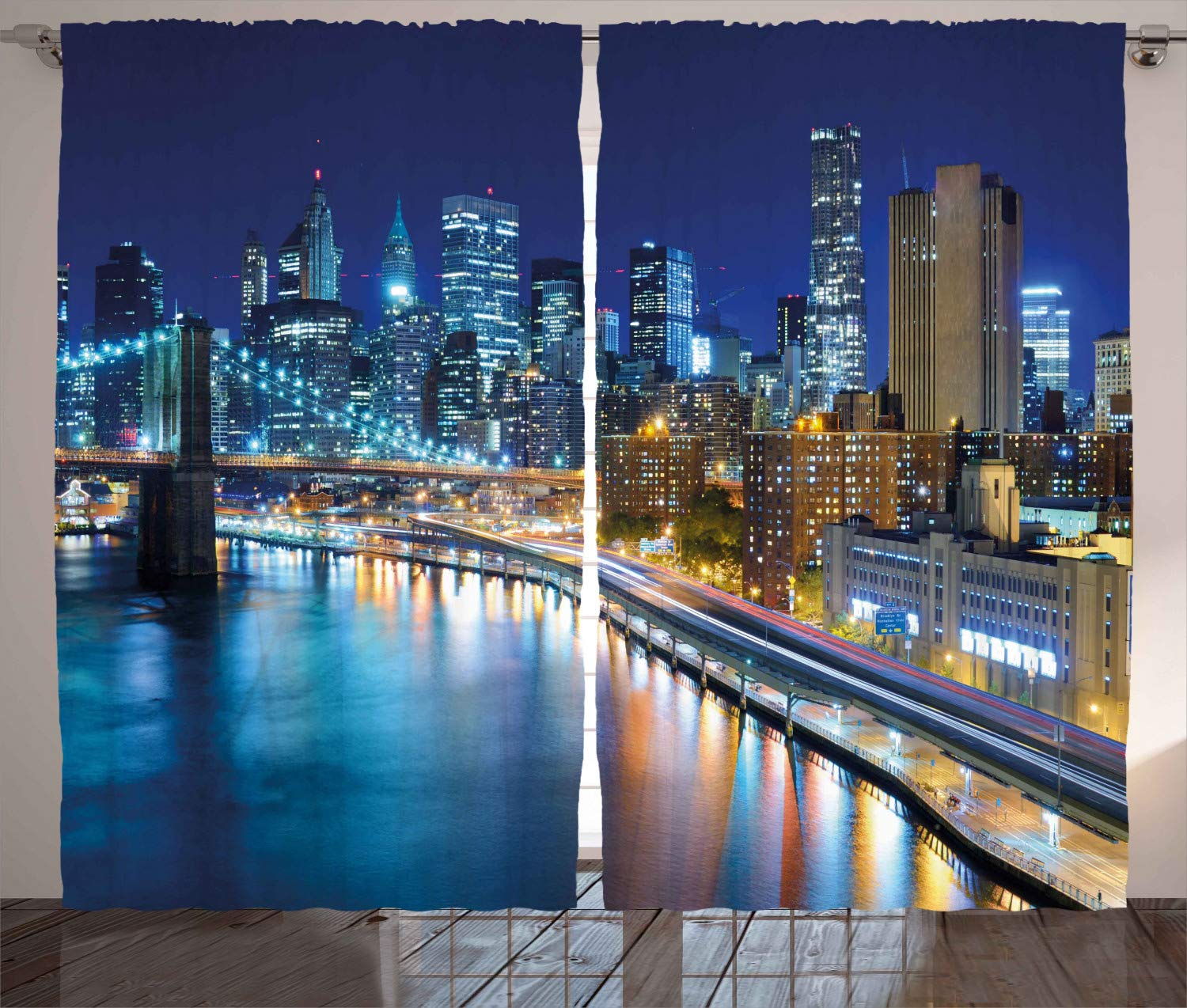 Ambesonne Landscape Curtains, View of New York City Manhattan Bay Harbour at Night with Lights and Skyscrapers, Living Room Bedroom Window Drapes 2 Panel Set, 108 W X 96 L Inches, Multicolor