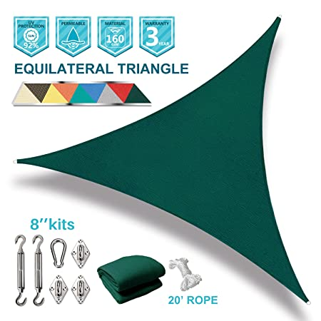 Coarbor 24 x24 x24 Triangle Sun Shade Sail with Hardware kit Perfect for Patio Deck Yard Outdoor Garden Permeable UV Block Shade Cover-Green -Make to Order
