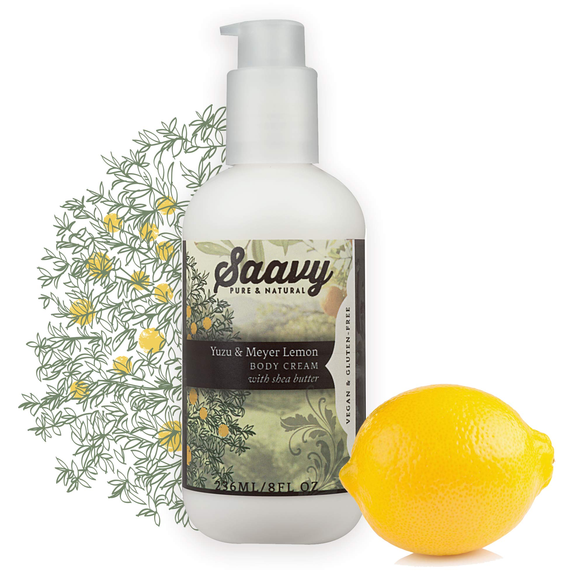 Yuzu & Meyer Lemon Body Cream | All-Natural Moisturizer | Vegan & Gluten Free Skin Care | 8 oz by Saavy Naturals