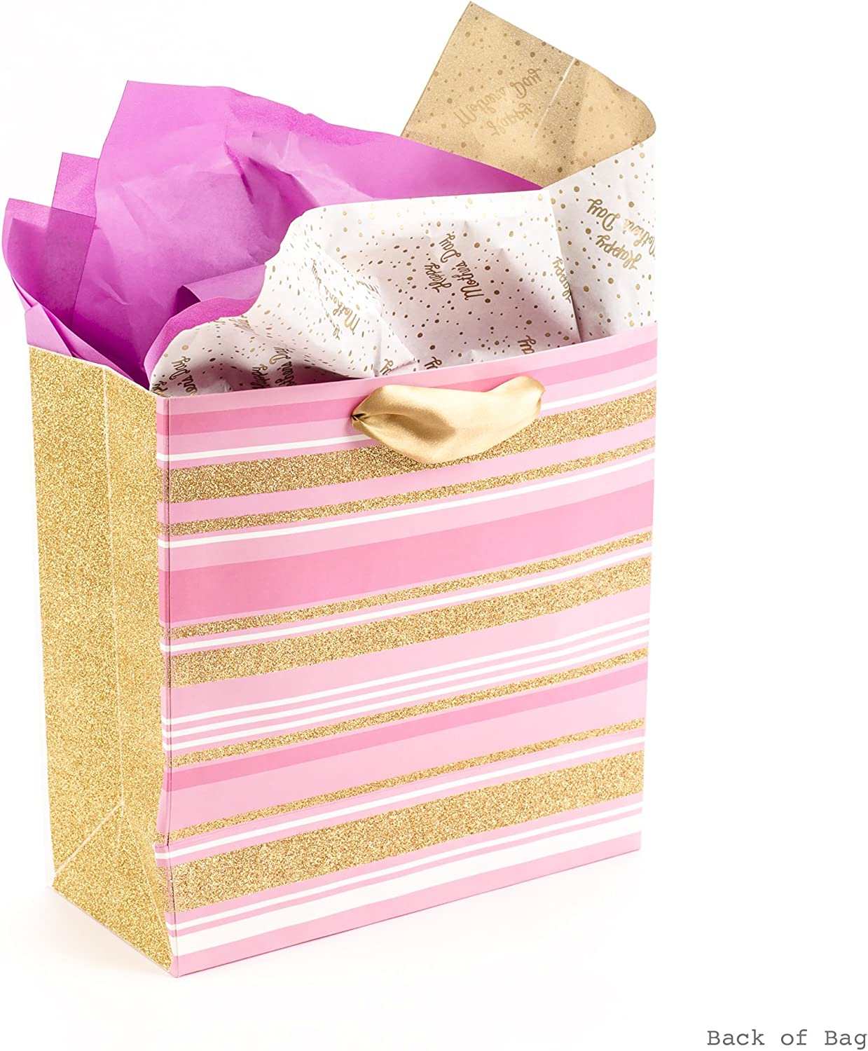 Pink Floral Heart, Gold Glitter Hallmark Signature 10 Large Mothers Day Gift Bag with Tissue Paper