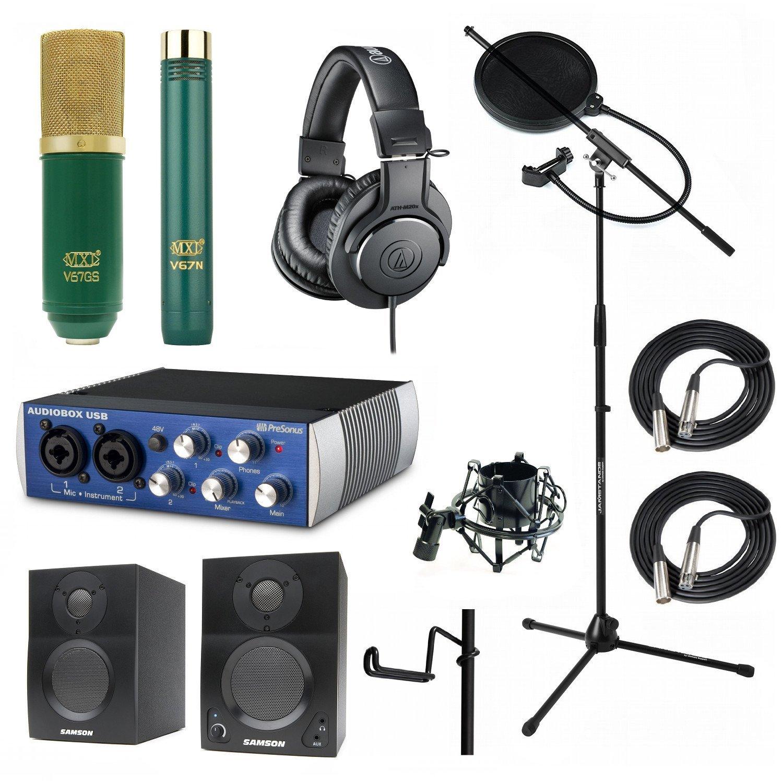 Home Recoding Studio Bundle MXL V67GS V67n ATH-M20x Shock-mount Stand Presonus AudioBox USB Samson Media ONE BT3 Speakers