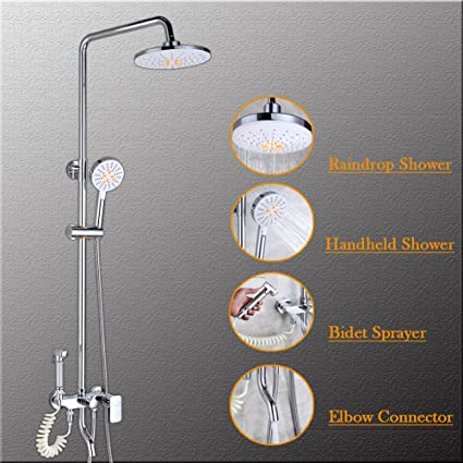Shower Faucet Set, Bathroom Rainfall Shower Systerm Rain Mixer Shower Head  With Handheld Combo Set
