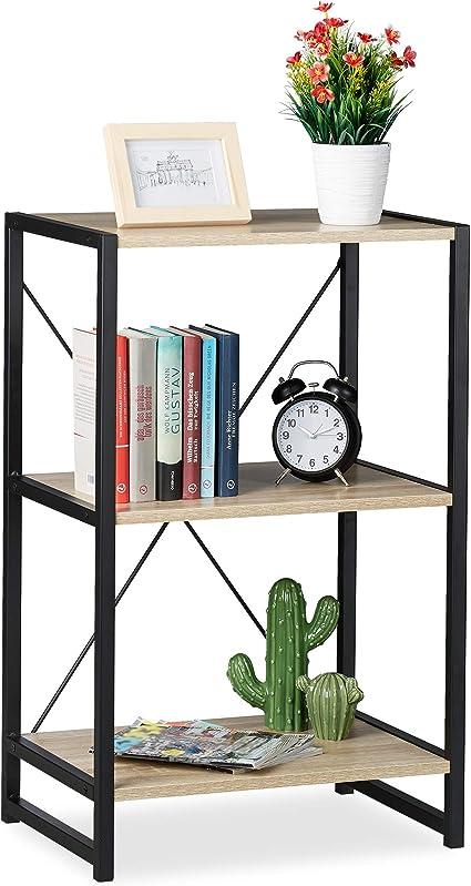 Relaxdays Estantería de pie, Industrial, Librería Baja con Tres estantes, 80x50x35 cm, Roble/Metal, Marrón