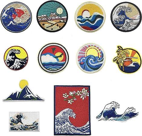 Woohome Patch Sticker, 12 Pz Ola Puesta de Sol Parche Termoadhesivo Parche de Hierro en Patches para Mochila, Gorras, Ropa: Amazon.es: Hogar