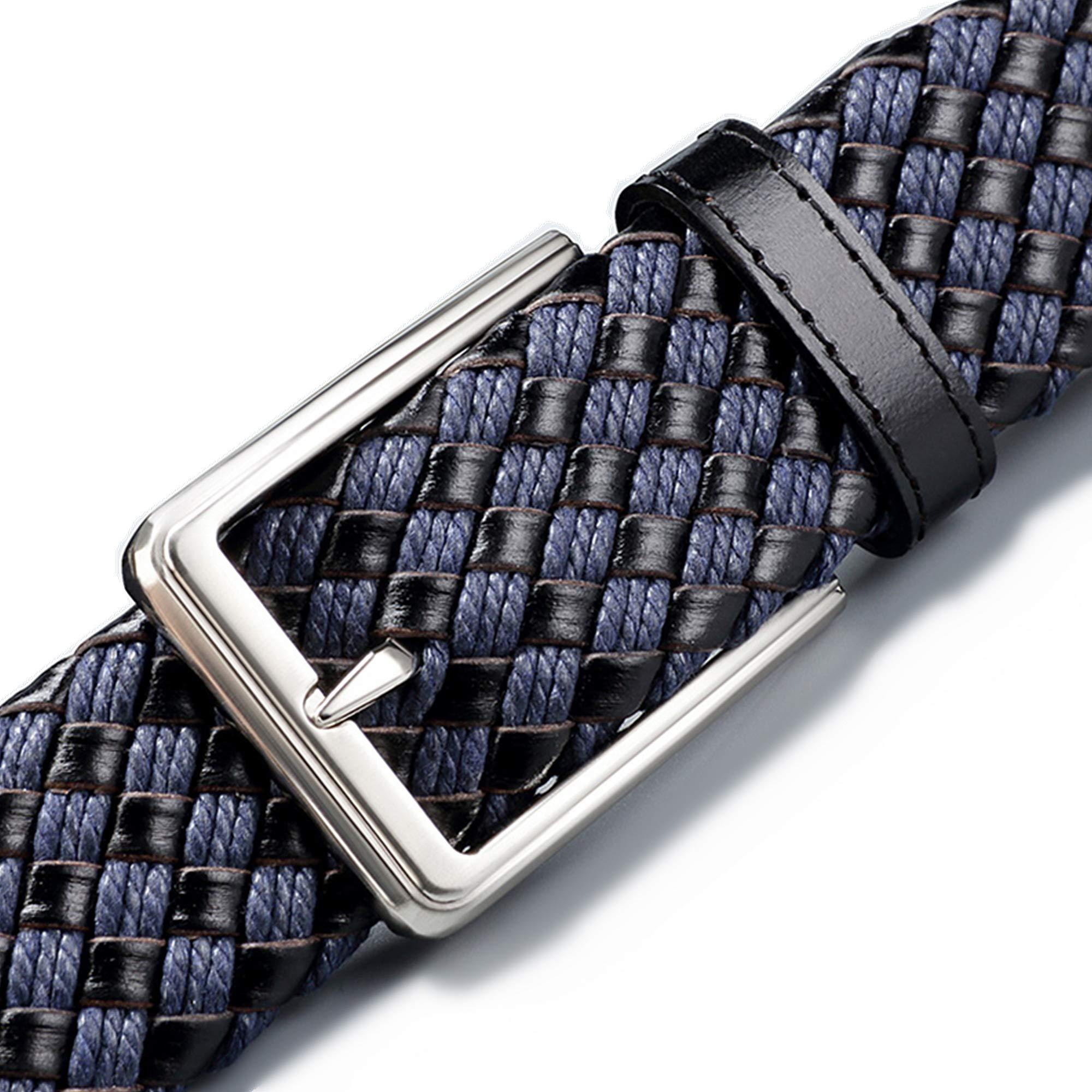 Braided Belts for Men Leather Woven designer belts blue Plaid running belt for women(small)