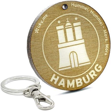 LIKY® Hamburgo - Llavero Original de Madera Grabado Regalo ...