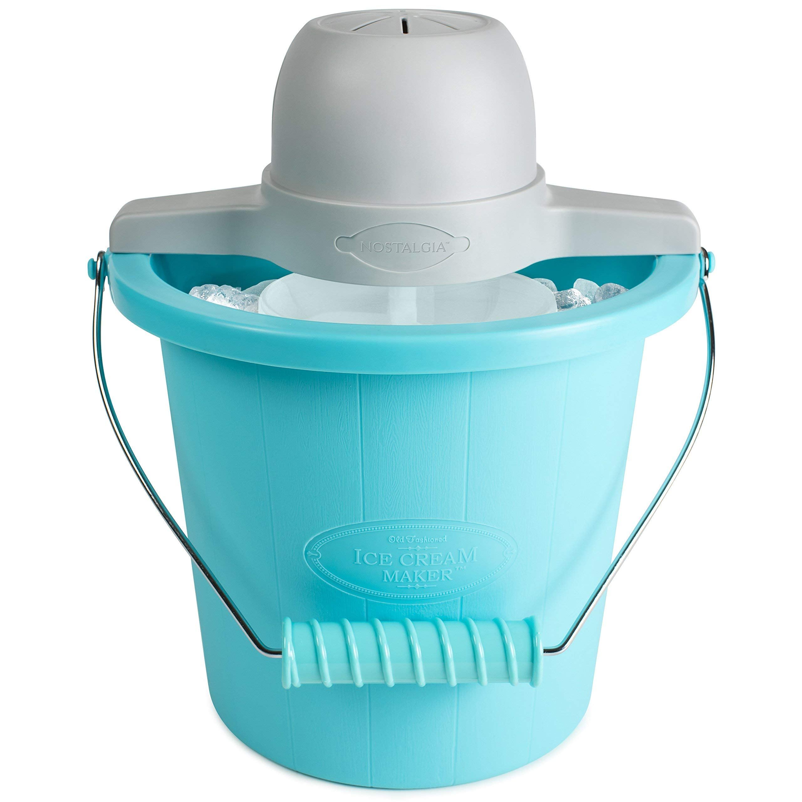 Nostalgia ICMP400BLUE 4-Quart Electric Ice Cream Maker with Easy Carry Handle (Renewed)