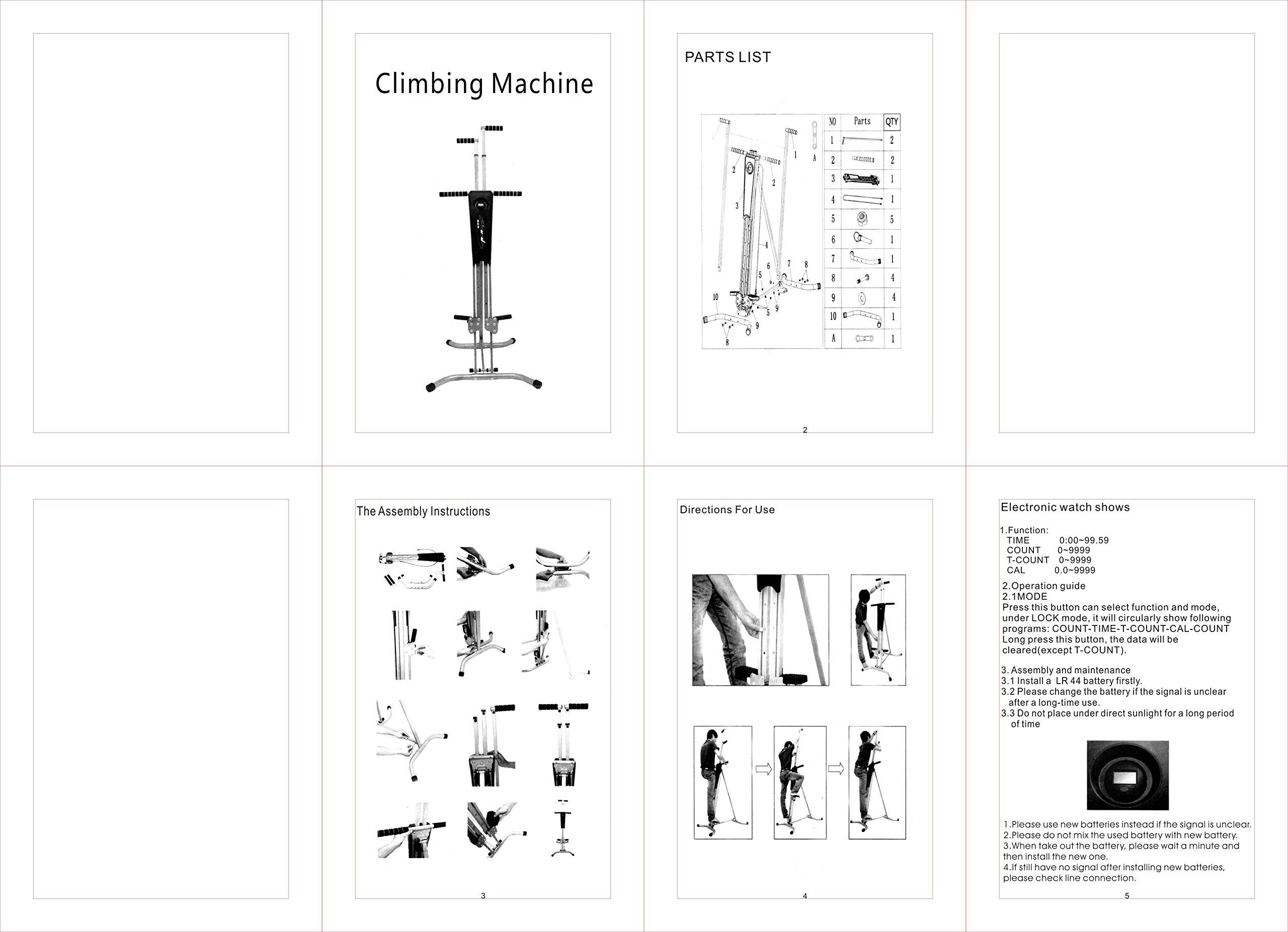 Popsport 440LBS Climber Machine Fitness Stepper Climber Exercise Equipment Vertical Climber for Home Gym Exercise Stepper Cardio Climbing System (P8006,Gray) by Popsport (Image #10)