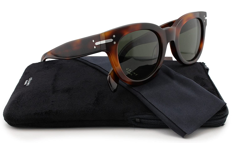 8b6cd78beddf1 Amazon.com  Celine 41040 S Sunglasses Havana w Crystal Green (005L) 41040  05L 1E 50mm Authentic  Clothing
