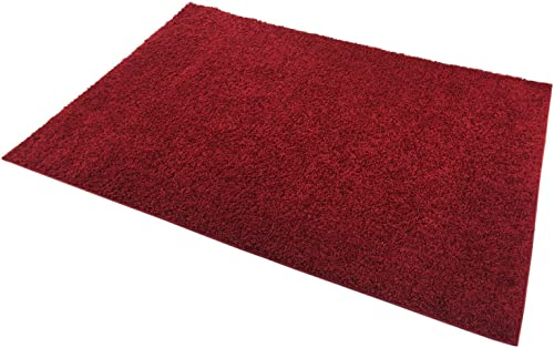 Shaggy Collection Solid Color Shag Area Rugs Dark Red