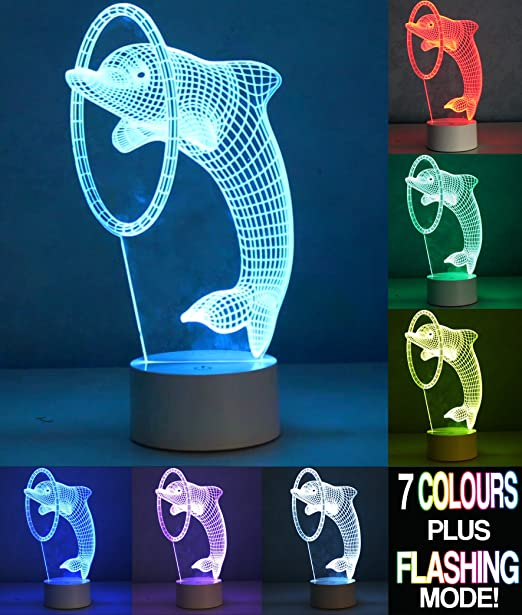 Optical Illusion 3d Dolphin Lamp Delphin Lampe Amazon De Kuche Haushalt