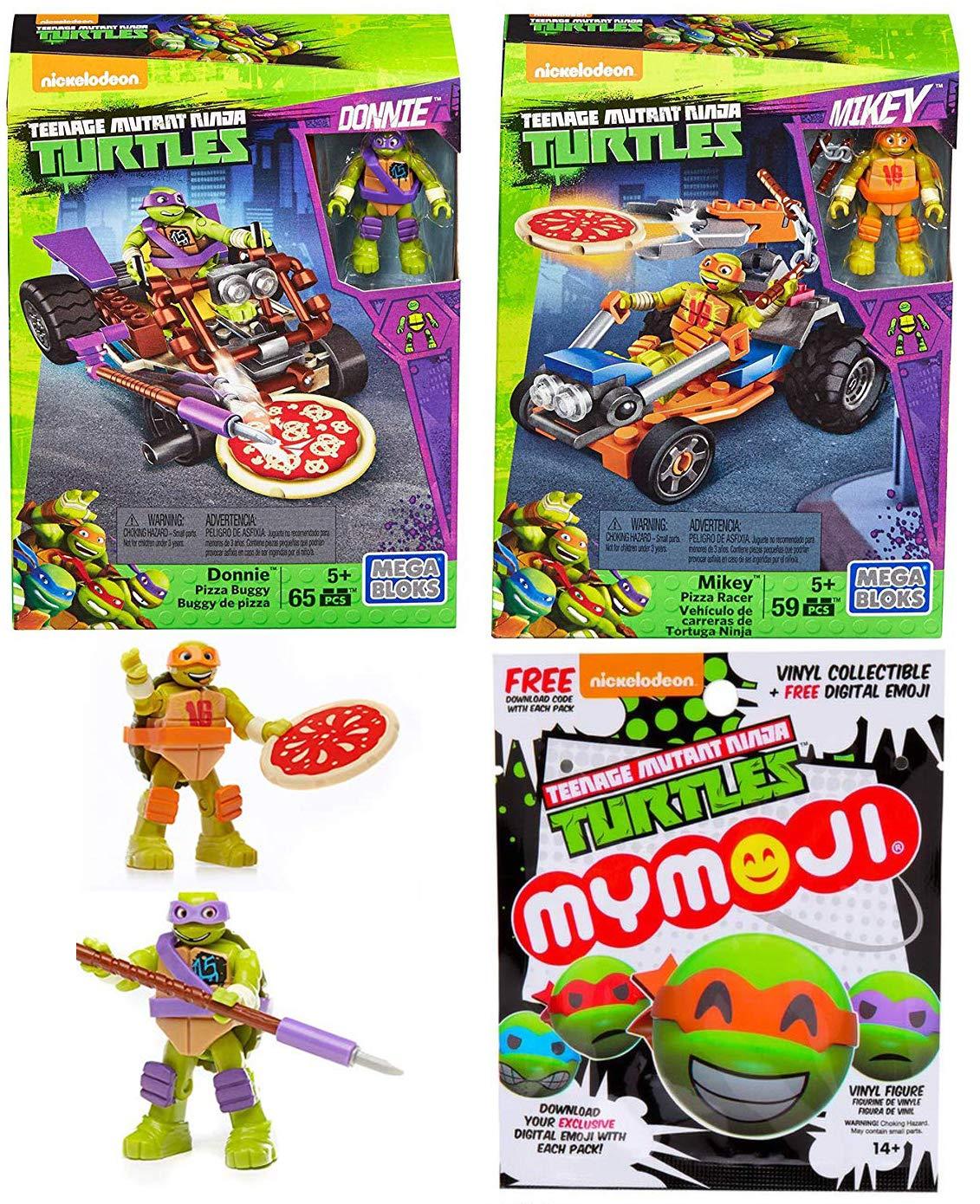 Mymoji TMNT Vinyl Blind Bag Bundled with Pizza Blast Buildable Mega Pack Teenage Mutant Ninja Turtles Cars & Mini Figure & Accessory Comic Bundle + Donnie Buggy / Mickey Racer 3 Items
