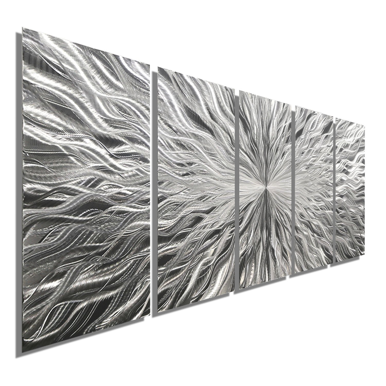 Large Silver Metal Wall Art Sculpture - Multi Panel Abstract Wall Decor by Jon Allen - Vortex 5P - 64''