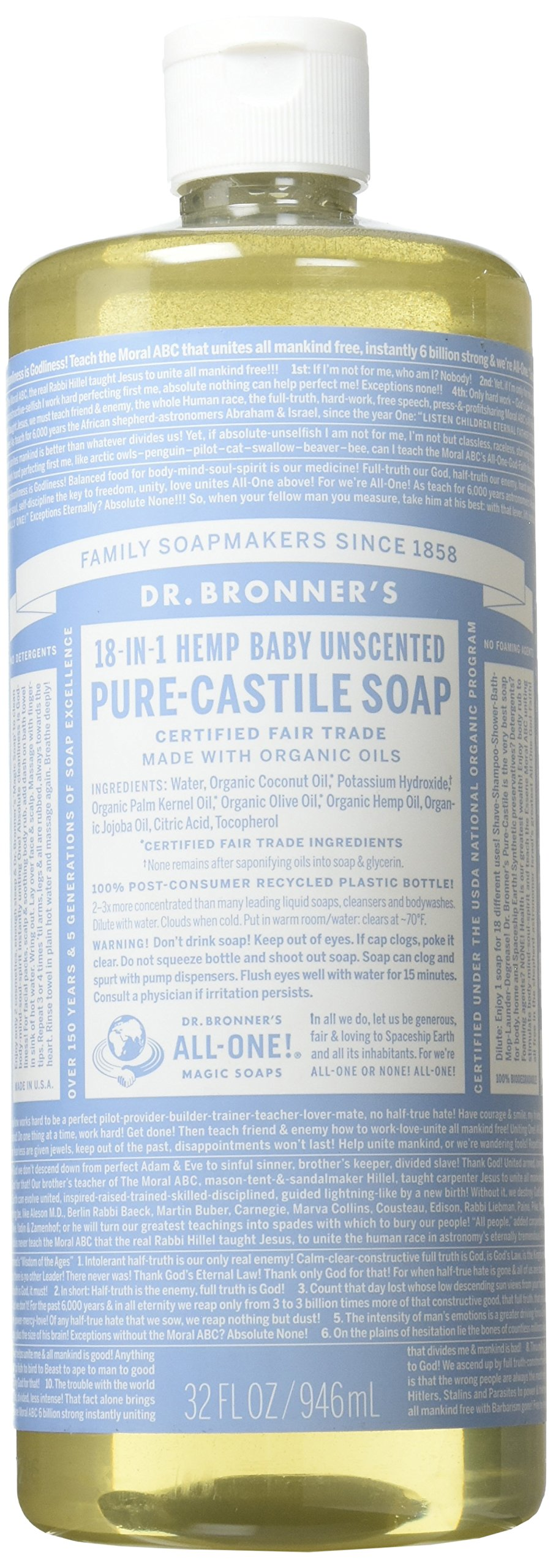 Dr. Bronner's Pure Castile Liquid Soap - Baby Unscented 32oz.