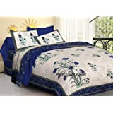 Clarks creation Traditional Print Cotton Double Bedsheet with 2 Pillow Covers- King Size (blue)