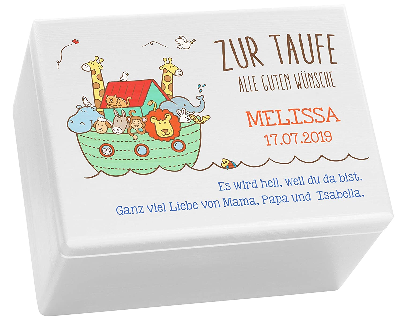Arche Noah Farbmotiv Personalisiertes Taufgeschenk LAUBLUST Holzkiste zur Taufe FSC/® ca Wei/ß 40 x 30 x 24 cm