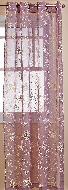 LORRAINE HOME FASHIONS Ravello Window Curtain Grommet Panel, 52 X 84 Inch, Lavender