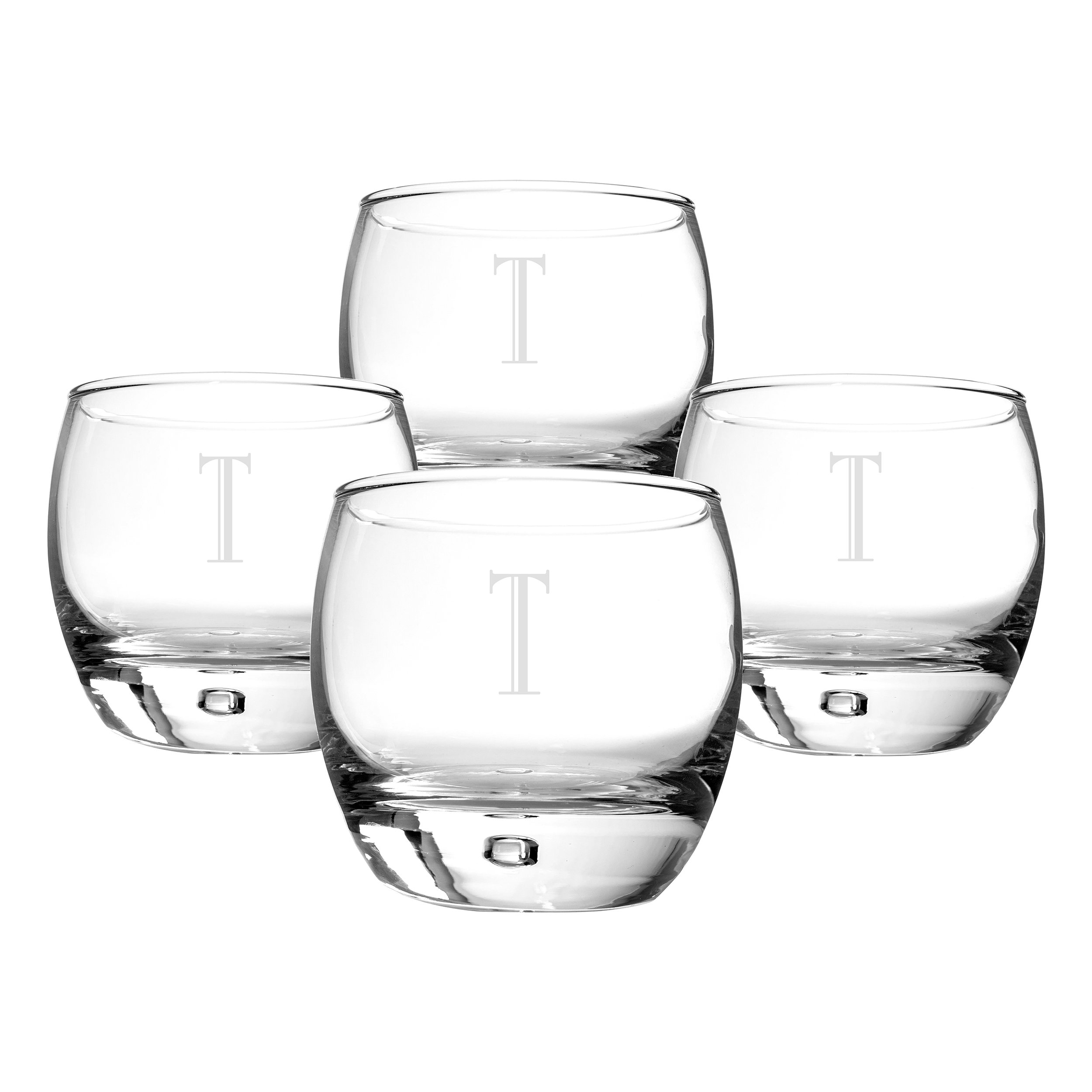 Cathy's Concepts Personalized Heavy Based Whiskey Glasses, Set of 4, Letter T