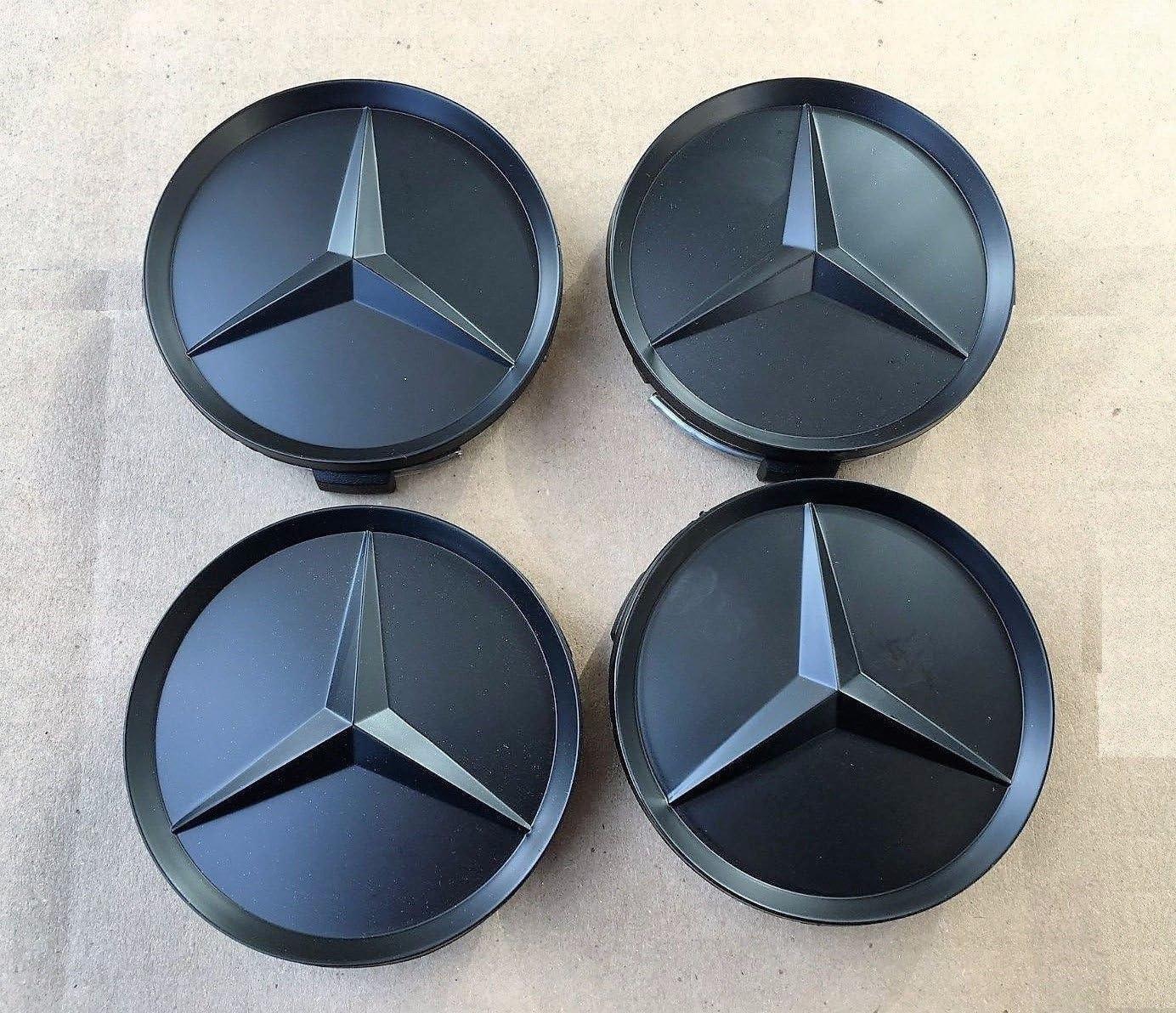 4 X Kappen Nabendeckel Felgendeckel Nabenkappen Logo Mercedes Benz Schwarz Matte All Black 75 Mm Klasse A B C Und Clk Gl M Ml Slk Für Nieten Felgen Legierung Auto